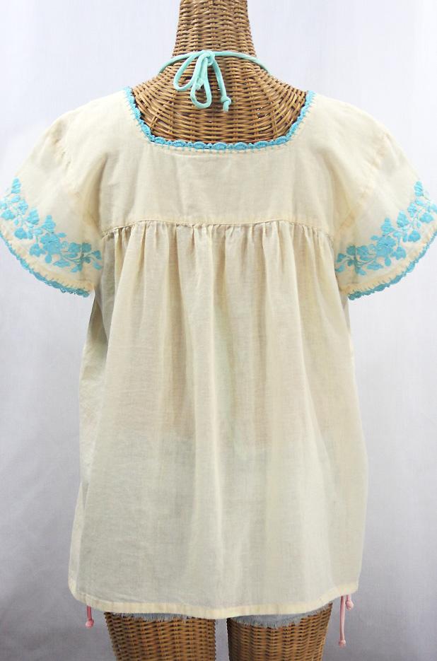 """La Marina Corta"" Embroidered Mexican Peasant Blouse - Pale Yellow + Light Blue"