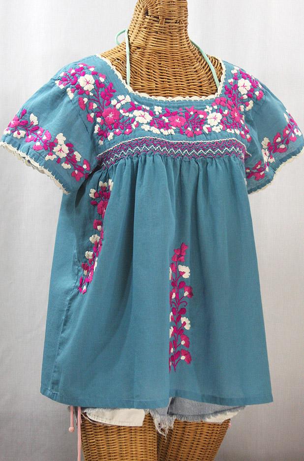 """La Marina Corta"" Embroidered Mexican Peasant Blouse - Pool Blue + Bright Pink Mix"