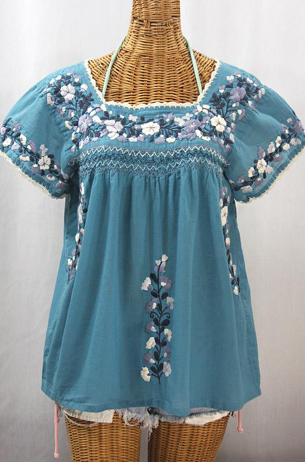 """La Marina Corta"" Embroidered Mexican Peasant Blouse - Pool Blue + Grey Mix"
