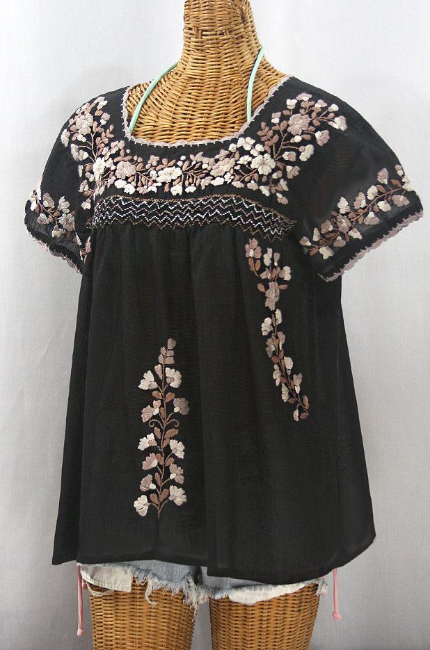 """""""La Marina Corta"""" Embroidered Mexican Peasant Blouse - Black + Cocoa Mix"""