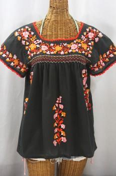 """La Marina Corta"" Embroidered Mexican Peasant Blouse - Charcoal + Orange Mix"