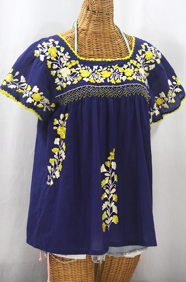 """La Marina Corta"" Embroidered Mexican Peasant Blouse - Denim Blue + Yellow Mix"