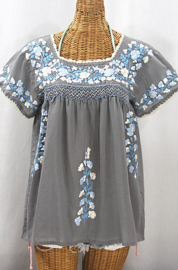 """La Marina Corta"" Embroidered Mexican Peasant Blouse - Medium Grey + Blue Mix"