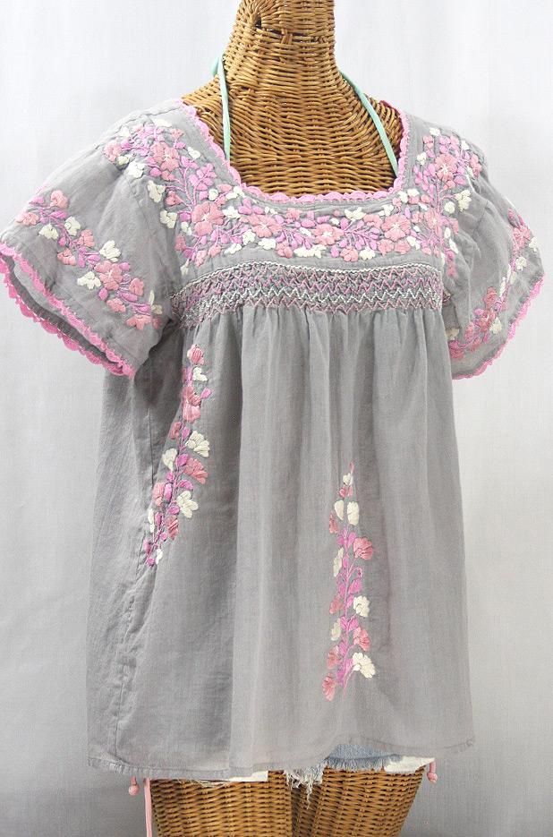 """La Marina Corta"" Embroidered Mexican Peasant Blouse - Grey + Pink Mix"