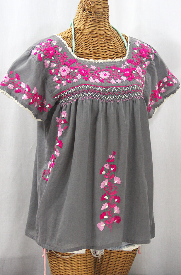 """La Marina Corta"" Embroidered Mexican Peasant Blouse - Medium Grey + Bright Pink Mix"