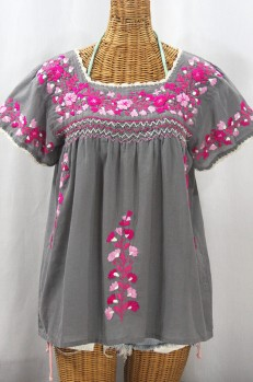 """La Marina Corta"" Embroidered Mexican Peasant Blouse - Medium Grey + Bright Pink Mix"