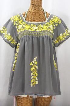 """La Marina Corta"" Embroidered Mexican Peasant Blouse - Medium Grey + Yellow Mix"