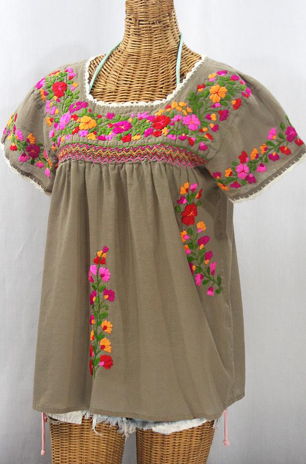 """""""La Marina Corta"""" Embroidered Mexican Peasant Blouse - Khaki + Bright Mix"""
