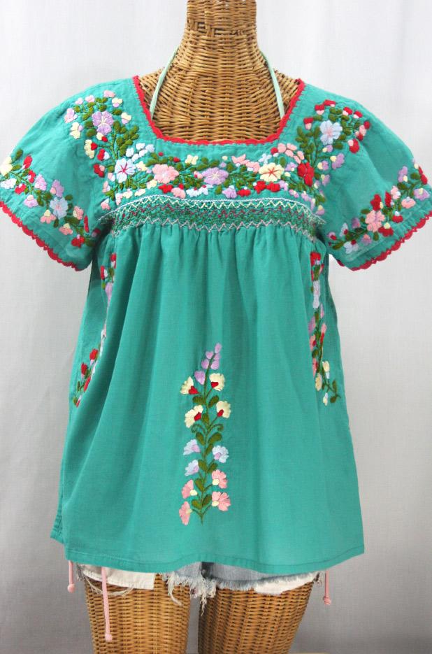"""""""La Marina Corta"""" Embroidered Mexican Peasant Blouse - Mint Green + Multi"""