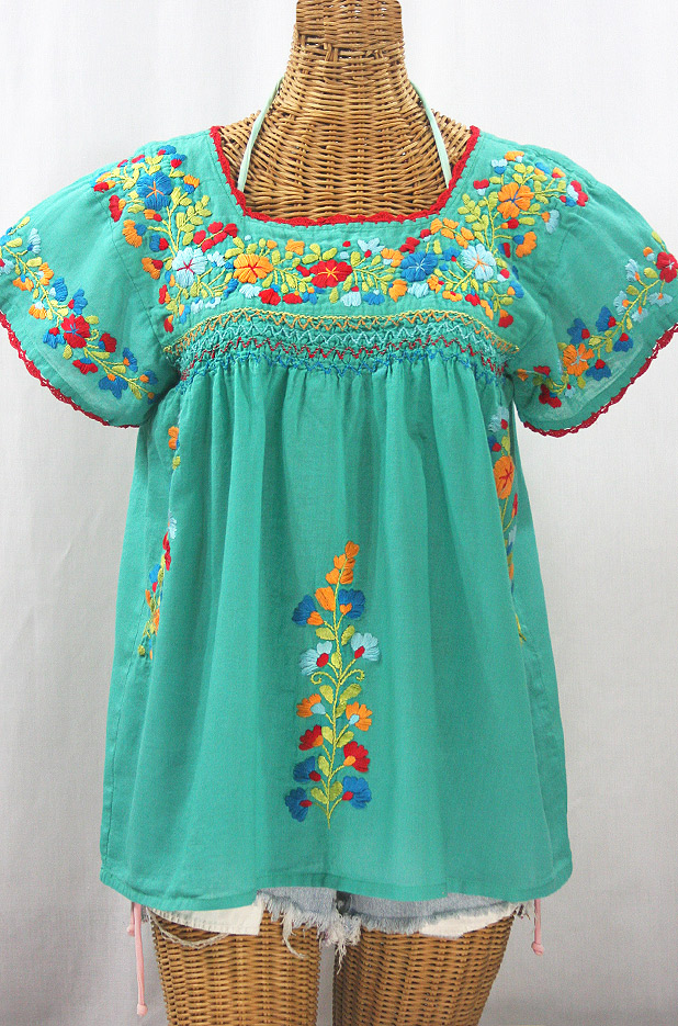 """La Marina Corta"" Embroidered Mexican Peasant Blouse - Mint Green + Spring Fiesta"