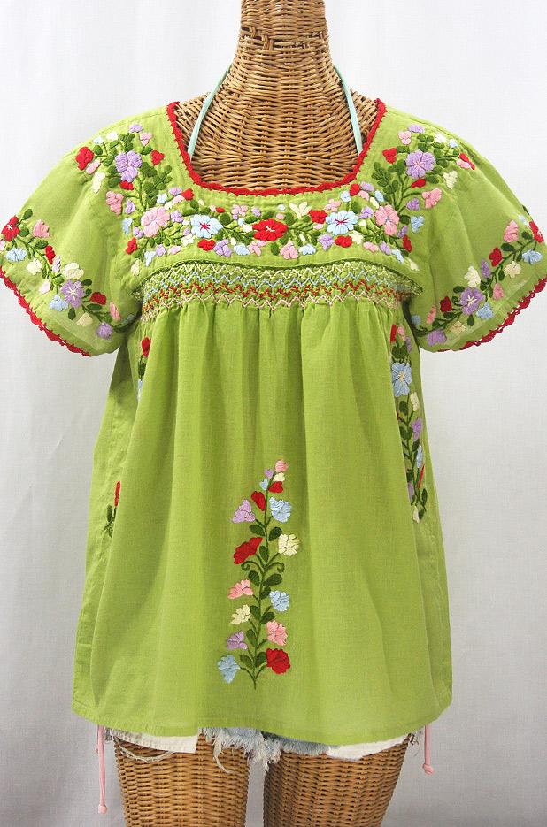 """""""La Marina Corta"""" Embroidered Mexican Peasant Blouse - Moss Green + Multi"""