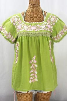 """La Marina Corta"" Embroidered Mexican Peasant Blouse - Moss Green + Pink Mix"