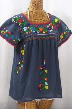 """La Marina Corta"" Embroidered Mexican Peasant Blouse - Navy + Rainbow"