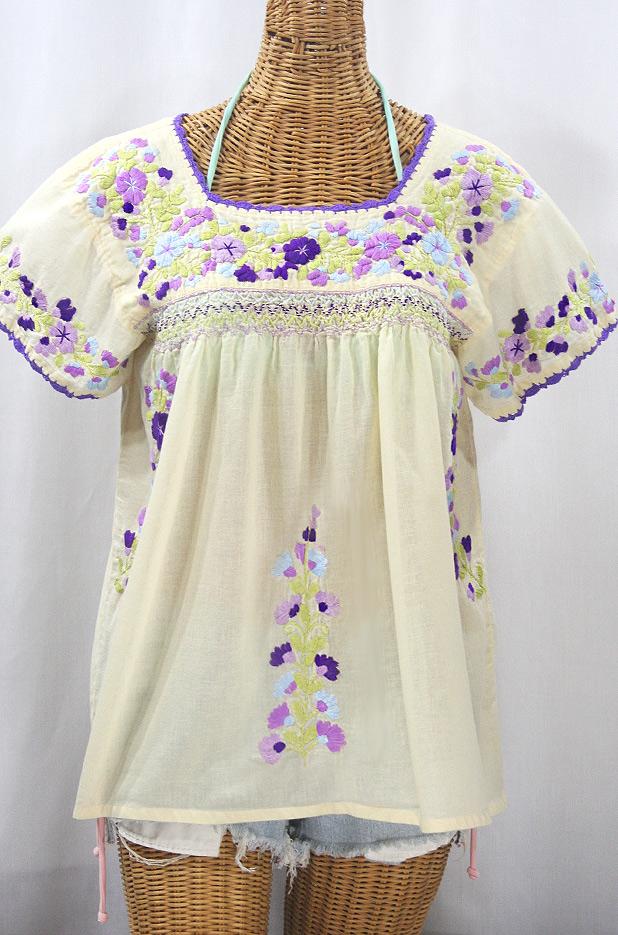 """""""La Marina Corta"""" Embroidered Mexican Peasant Blouse - Pale Yellow + Purple Multi"""