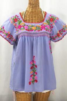 """La Marina Corta"" Embroidered Mexican Peasant Blouse - Periwinkle + Bright Mix"