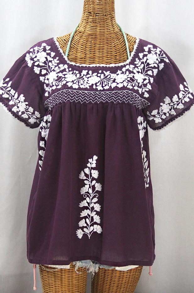"""""""La Marina Corta"""" Embroidered Mexican Peasant Blouse - Plum + White"""