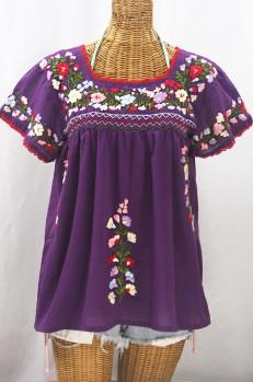 """""""La Marina Corta"""" Embroidered Mexican Peasant Blouse - Purple + Multi"""