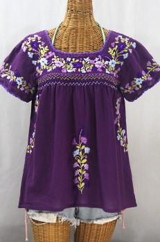"""""""La Marina Corta"""" Embroidered Mexican Peasant Blouse - Purple + Purple Multi"""