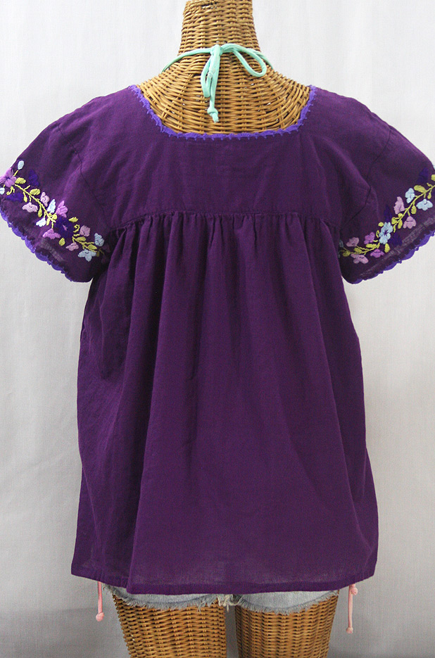 """La Marina Corta"" Embroidered Mexican Peasant Blouse - Purple + Purple Multi"