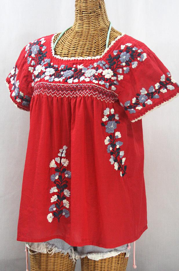 """La Marina Corta"" Embroidered Mexican Peasant Blouse - Red + Grey Mix"