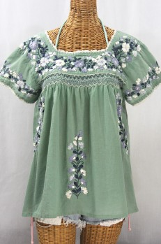 """La Marina Corta"" Embroidered Mexican Peasant Blouse - Sage Green + Grey Mix"