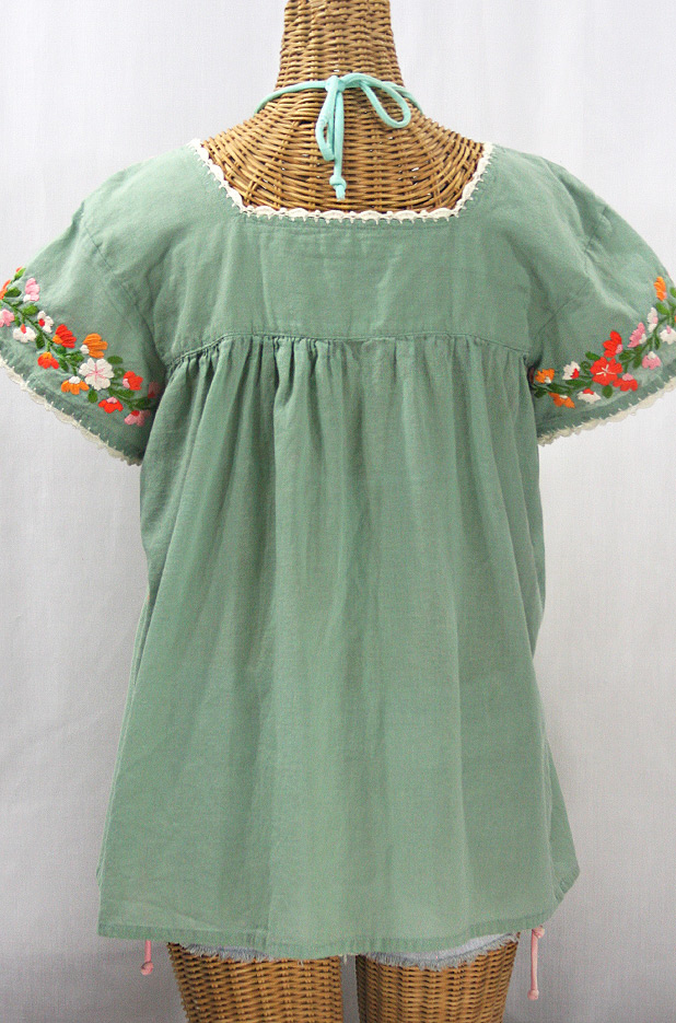 """La Marina Corta"" Embroidered Mexican Peasant Blouse - Sage Green + Orange Mix"