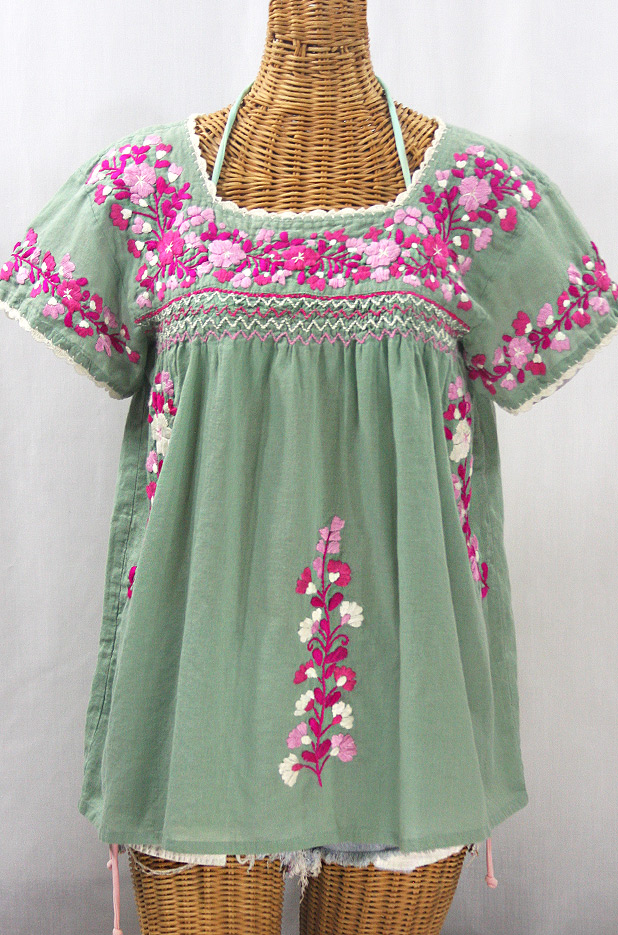 """La Marina Corta"" Embroidered Mexican Peasant Blouse - Sage Green + Bright Pink Mix"