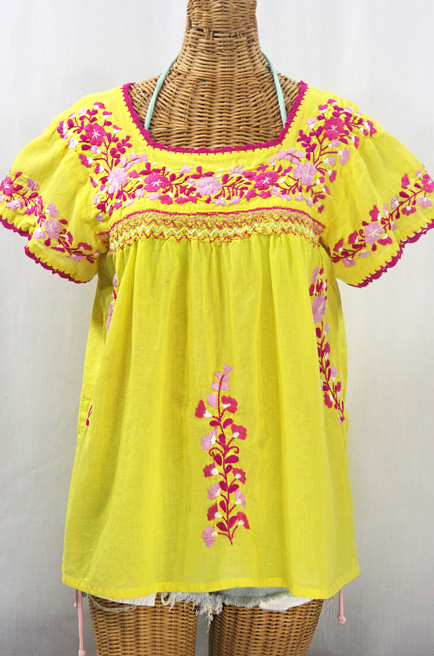 """La Marina Corta"" Embroidered Mexican Peasant Blouse - Yellow + Bright Pink Mix"