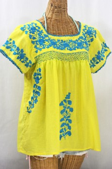 """""""La Marina Corta"""" Embroidered Mexican Peasant Blouse - Yellow + Turquoise"""