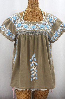"""La Marina Corta"" Embroidered Mexican Peasant Blouse - Khaki + Blue Mix"