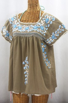 """La Marina Corta"" Embroidered Mexican Peasant Blouse - Khaki + Blue Mix"