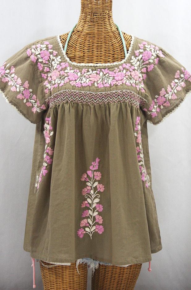 """La Marina Corta"" Embroidered Mexican Peasant Blouse - Khaki + Pink Mix"