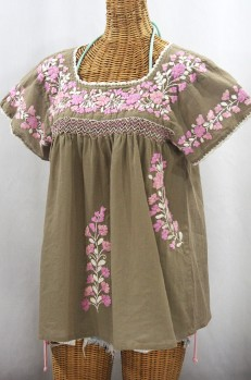 """La Marina Corta"" Embroidered Mexican Peasant Blouse - Khaki + Pink Mix"