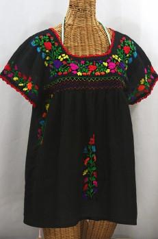"Final Sale 40% Off ""La Marina Corta"" Embroidered Mexican Peasant Blouse - Black + Rainbow"