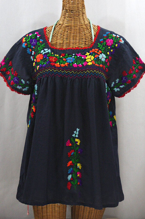 """La Marina Corta"" Embroidered Mexican Peasant Blouse - Navy + Rainbow"