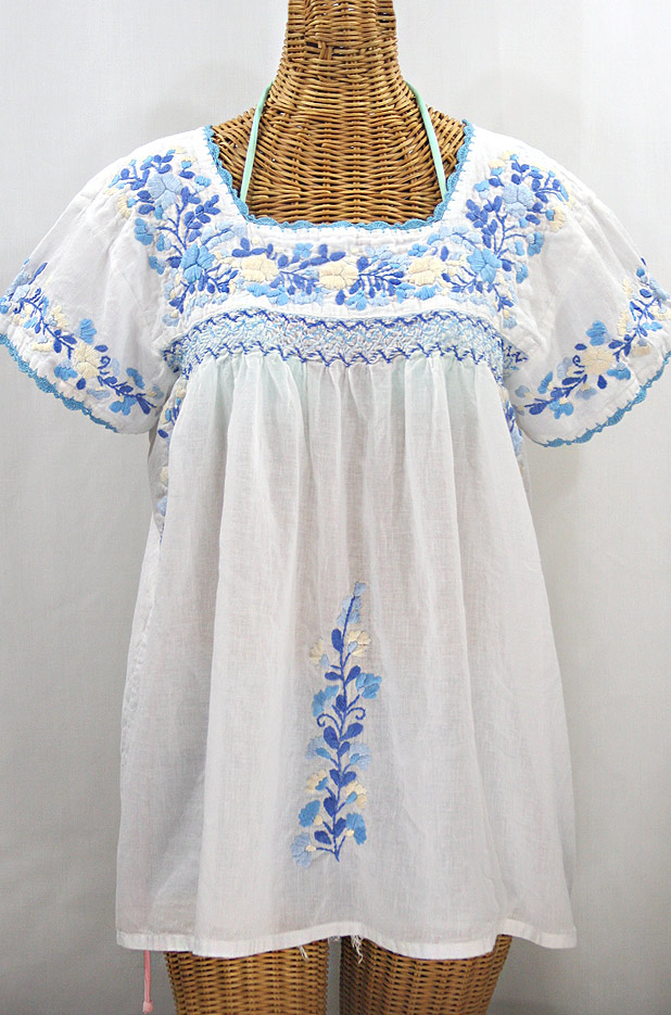 """La Marina Corta"" Embroidered Mexican Peasant Blouse - White + Blue Mix"