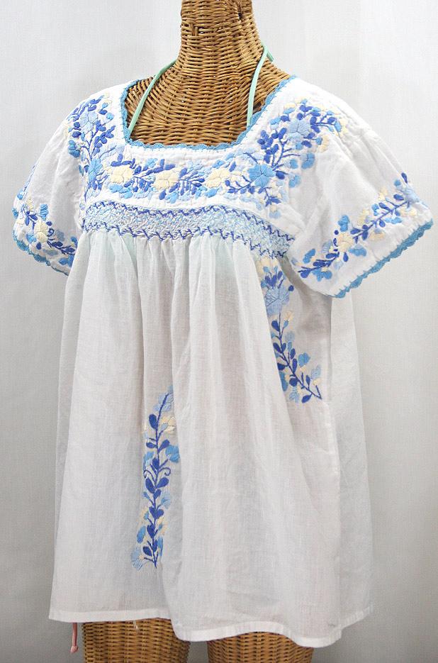 """""""La Marina Corta"""" Embroidered Mexican Peasant Blouse - White + Blue Mix"""