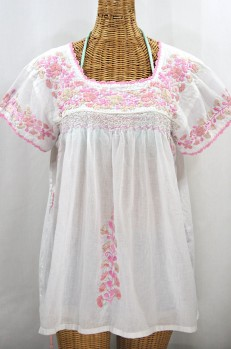 """La Marina Corta"" Embroidered Mexican Peasant Blouse - White + Pink Mix"