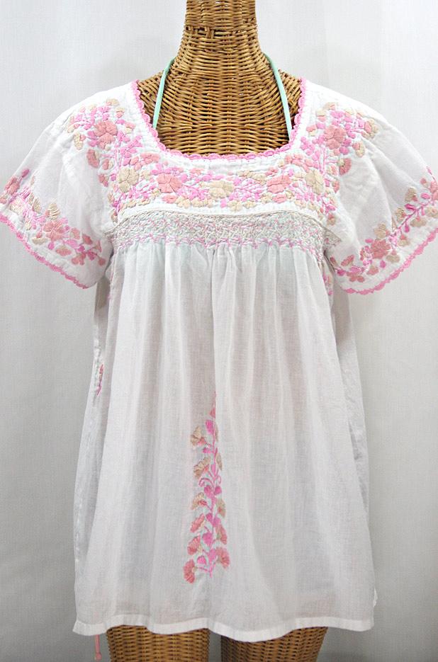 """La Marina Corta"" Embroidered Mexican Peasant Blouse - White + Pink Mix"