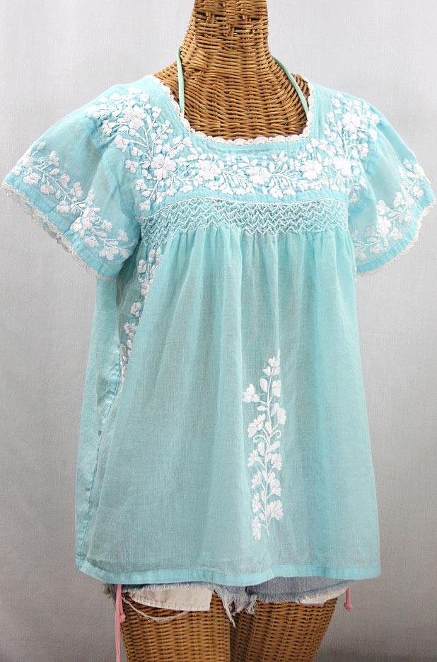 """""""La Marina Corta"""" Embroidered Mexican Peasant Blouse - Pale Blue + White"""