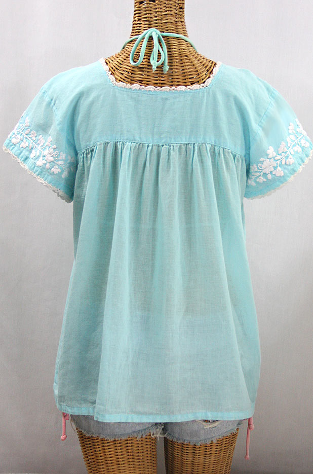 """La Marina Corta"" Embroidered Mexican Peasant Blouse - Pale Blue + White"