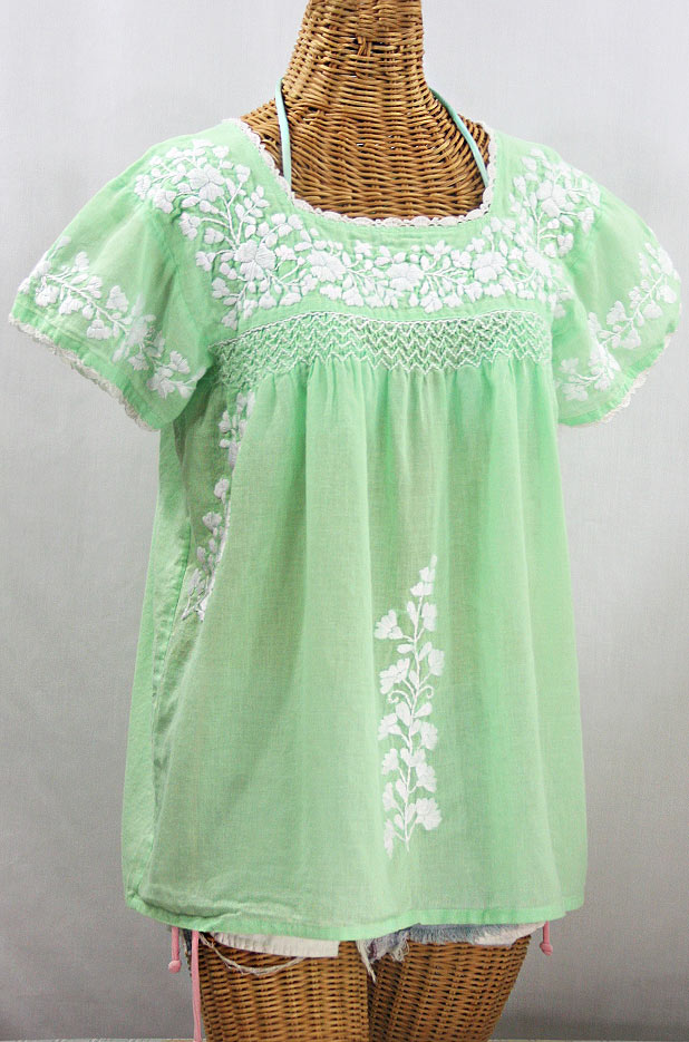 """""""La Marina Corta"""" Embroidered Mexican Peasant Blouse - Pale Green + White"""