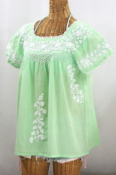 """La Marina Corta"" Embroidered Mexican Peasant Blouse - Pale Green + White"