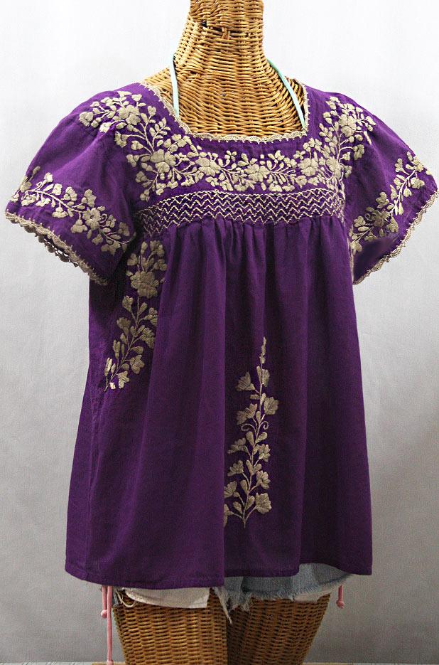 """""""La Marina Corta"""" Embroidered Mexican Peasant Blouse - Purple + Cocoa"""
