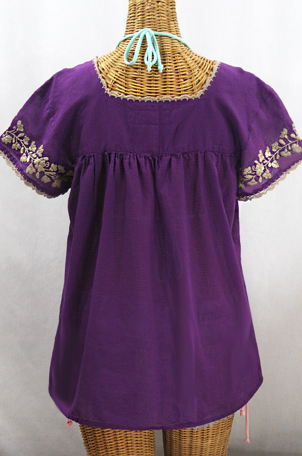 """La Marina Corta"" Embroidered Mexican Peasant Blouse - Purple + Cocoa"