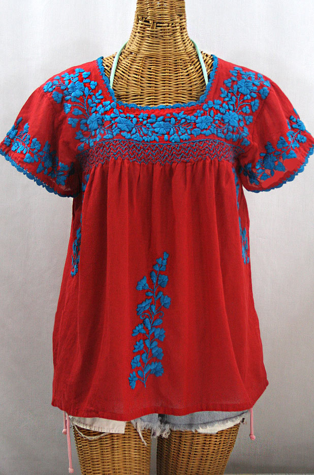 """La Marina Corta"" Embroidered Mexican Peasant Blouse - Red + Turquoise"