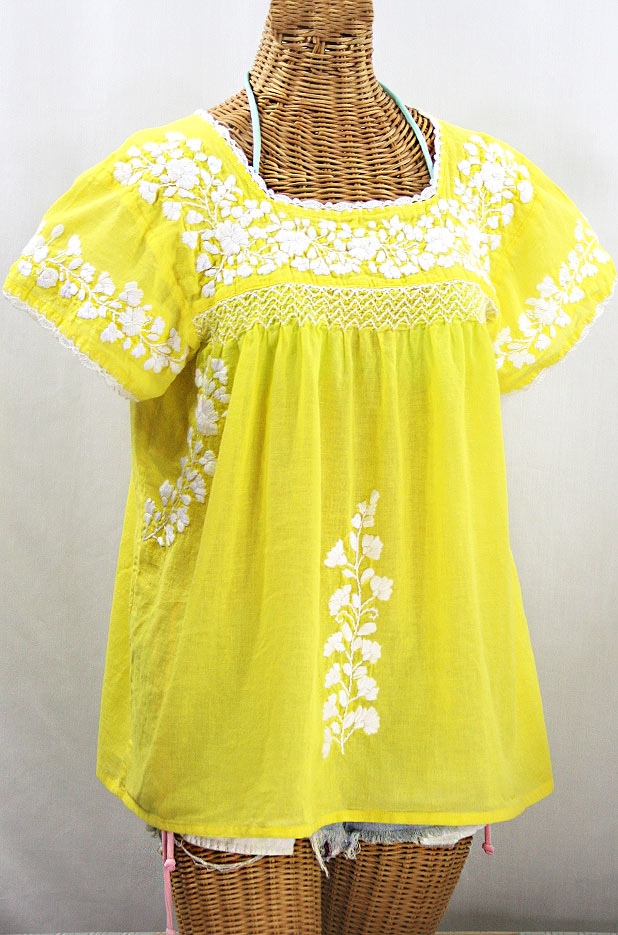 """La Marina Corta"" Embroidered Mexican Peasant Blouse - Yellow + White"