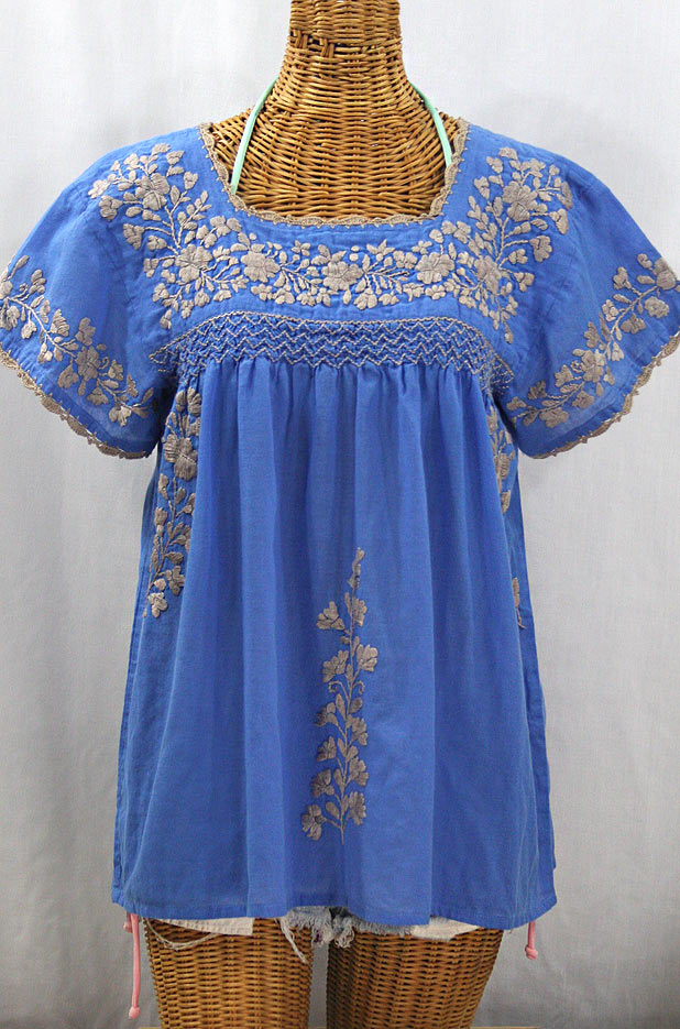 """La Marina Corta"" Embroidered Mexican Peasant Blouse - Light Blue + Cocoa"