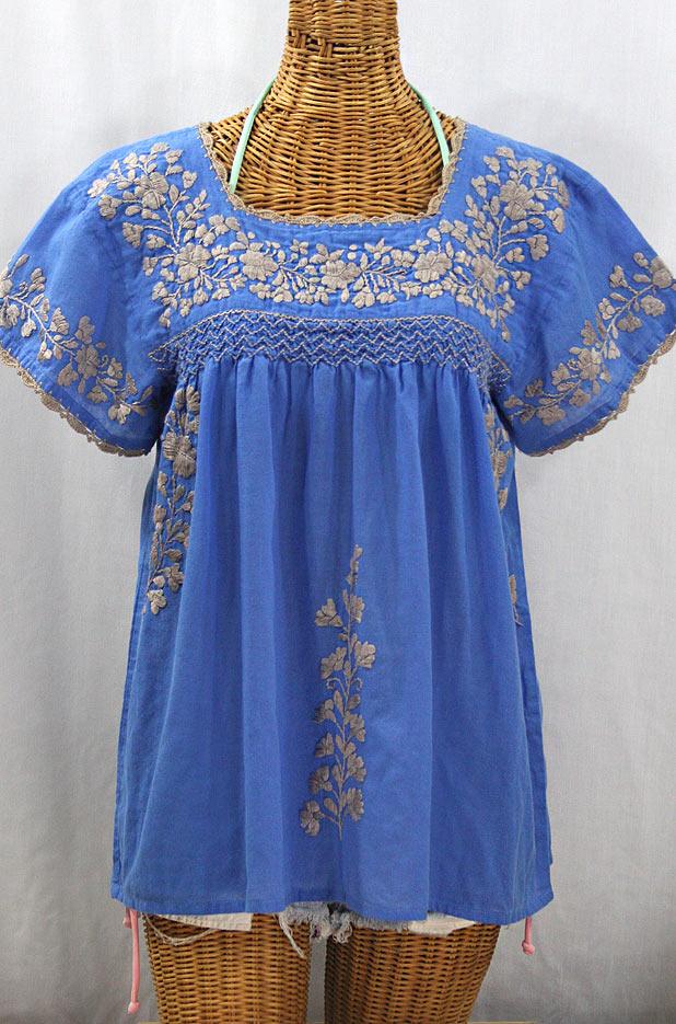 """""""La Marina Corta"""" Embroidered Mexican Peasant Blouse - Light Blue + Cocoa"""