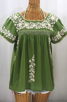 """La Marina Corta"" Embroidered Mexican Peasant Blouse - Fern + Cream"